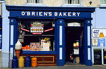 Blue painted facade of O'Briens bakery shop, Ennistymon, County Clare, Ireland, Europe