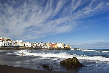 Beach under clouded sky, Playa Jardin, Puerto de la Cruz, Tenerife, Canary Islands, Spain, Europe