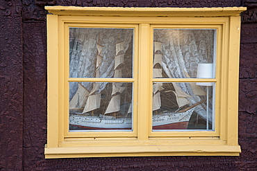 Model of sailing ship in a window, Visby, Gotland, Sweden, Europe