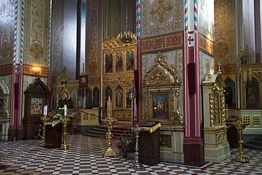 Interior of Russian Orthodox cathedral of Alexander Nevsky, Tallinn, Harjumaa, Estonia, Baltic States, Europe