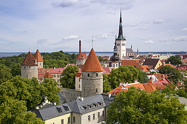 View of city with churches and towers seen from Toompea hill, Tallinn, Harjumaa, Estonia, Baltic States, Europe