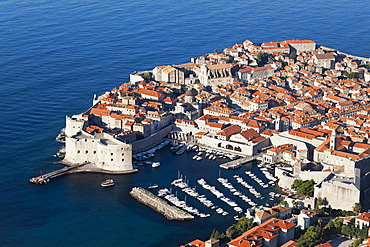 Walled Old City of Dubrovnik with harbour, Dubrovnik, Croatia