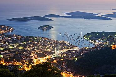 Panoramic view to Hvar at dusk, Hvar Island, Dalmatia, Croatia