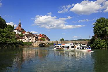 View at bridge and riverine town, Laufenburg, High Rhine, Black Forest, Baden-Wuerttemberg, Germany, Europe