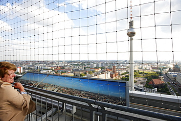 View of the television tower from the roof deck of the Park Inn Hotel, Alexanderplatz, Berlin, Germany