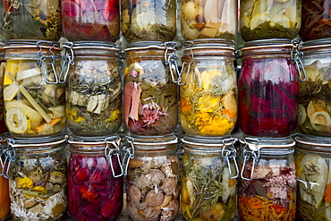 Preserving jars with fruit and vegetables, Germany