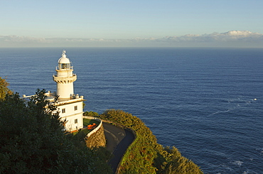 Lighthouse in the sunlight, Monte Igeldo, San Sebastian, Donostia, Camino de la Costa, Camino del Norte, coastal route, Way of St. James, Camino de Santiago, pilgrims way, province of Guipuzcoa, Basque Country, Euskadi, Northern Spain, Spain, Europe