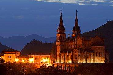 Basilica de Santa Maria la Real in the evening, Basilica from 19th. century, Covadonga, Picos de Europa, province of Asturias, Principality of Asturias, Northern Spain, Spain, Europe