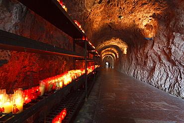 Candles in the holy cave Santa Cueva de Covadonga, Covadonga, Picos de Europa, Province of Asturias, Principality of Asturias, Northern Spain, Spain, Europe