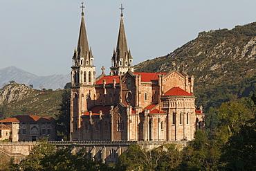 Basilica de Santa Maria la Real, Basilica, church, 19th. century, Covadonga, place of pilgrimage, near Cangas de Onis, Picos de Europa, province of Asturias, Principality of Asturias, Northern Spain, Spain, Europe