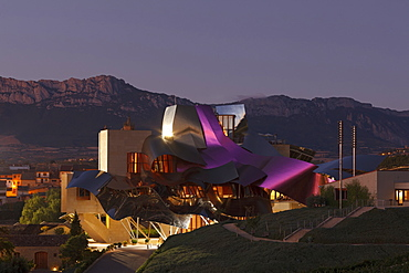 Hotel Marques de Riscal, architect Frank Gehry, Bodega Herederos del Marques de Riscal, winery, Elciego, village, La Rioja Alavesa, province of Alava, Basque Country, Euskadi, Northern Spain, Spain, Europe