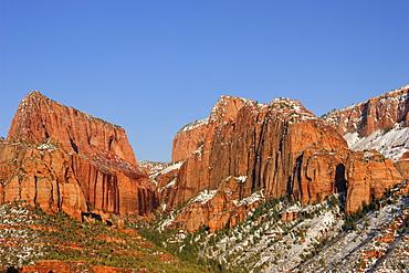 Kolob Canyon with Nagunt Mesa and Timber Top Mesa, Zion National Park, Utah, Southwest, USA, America