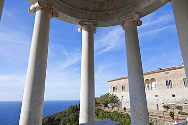 Pavilion with the view to the Mediterranean, Son Marroig, former country residence of archduke Ludwig Salvator from Austria, near Deia, Tramantura, Mallorca, Spain