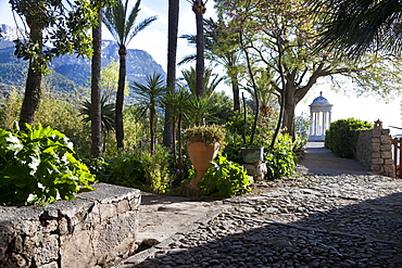 Pavilion with park, Son Marroig, former country residence of archduke Ludwig Salvator from Austria, Son Marroig, near Deia, Tramantura, Mallorca, Spain