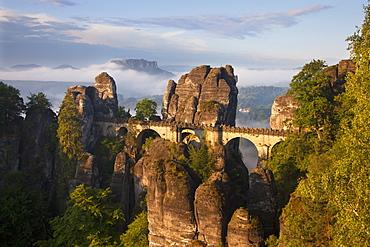 View from Felsenburg Neurathen onto Bastei Bridge, Bastei Rocks, and Lilienstein Rock, National Park Saxon Switzerland, Elbe Sandstone Mountains, Saxony, Germany, Europe