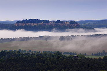 Koenigstein castle in the fog, National Park Saxon Switzerland, Elbe Sandstone Mountains, Saxony, Germany, Europe
