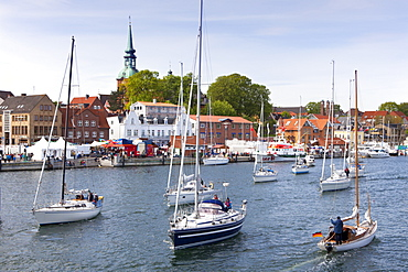 Sailing boats at harbour, Kappeln, Schlei fjord, Baltic Sea, Schleswig-Holstein, Germany, Europe