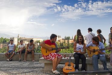 Flamenco musicians in front of the Alhambra, Albaicin, Granada, Andalusia, Spain, Europe