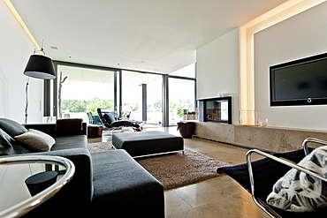 Open-plan living area, Neuenkirchen, North Rhine-Westphalia, Germany