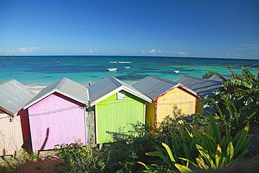 Colourful beach huts on the beach, Atlantic Coast, Antigua, West Indies, Caribbean, Central America, America