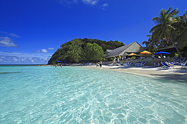 People on Pineapple Beach, Antigua, West Indies, Caribbean, Central America, America