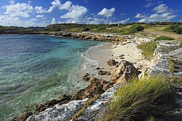 View over beach with rocks, Indian Town Point, Antigua, West Indies, Caribbean, Central America, America