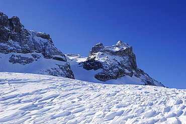 View towards Kleine Sulzfluh, backcountry ski tour Sulzfluh, Raetikon, Montafon, Vorarlberg, Austria