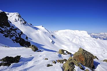 Madrisa and Raetschenhorn, Madrisajoch, Raetikon, Montafon, Vorarlberg, Austria