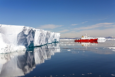 Tabular Iceberg and cruiseship, Weddell Sea, Antarctica
