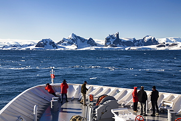 Tourists on cruise ship, Antarctic Peninsula, Antarctica