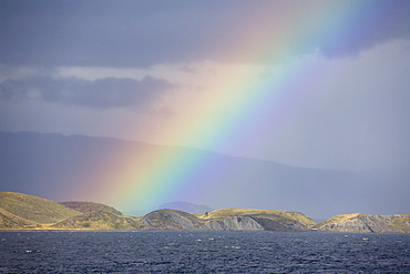 Rainbow over the Beagle Channel, Tierra del Fuego, Argentina, Chile, South America