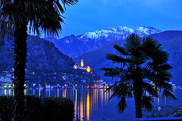 View towards Morcote at lake Lugano, Ticino, Switzerland