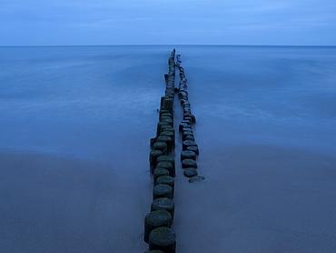 Breakwater at the Baltic coast, Usedom, Mecklenburg Western Pomerania, Germany, Europe