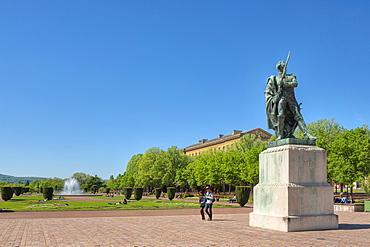 Esplanade gardens with Ney statue, Metz, Lorraine, France, Europe