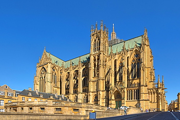 View of the Cathedral St. Etienne, Metz, Lorraine, France, Europe