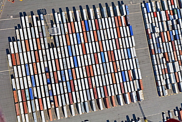 Aerial view of shipping containers in Bremerhaven port, Bremen, Northern Germany