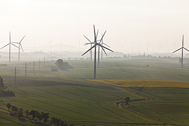 Aerial view of a wind farm near Salzgitter, alternative power, Salzgitter, Lower Saxony, Germany