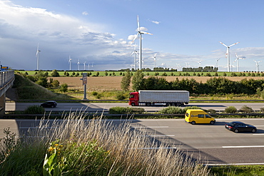 Wind turbines along the A2 Autobahn direction Berlin, Sachsen-Anhalt, Germany