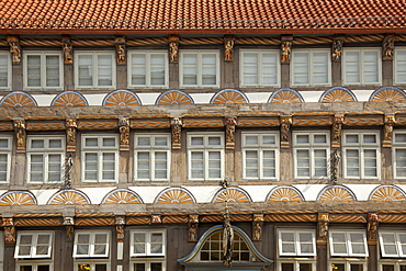 Half timbered facade of the Stiftsherrenhaus, Hamelin, Weser Hills, North Lower Saxony, Germany, Europe