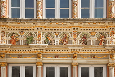 Frieze of the virtues, Leisthaus, Hamelin, Weser Hills, North Lower Saxony, Germany, Europe