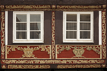 Carvings at a half timbered facade, Hamelin, Weser Hills, North Lower Saxony, Germany, Europe