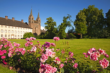 West wing of Corvey castle and westwork of the abbey, Hoexter, Weser Hills, North Rhine-Westphalia, Germany, Europe