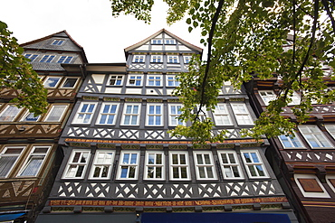 Half timbered houses at the old town, Hannoversch Muenden, Weser Hills, North Lower Saxony, Germany, Europe