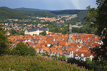 View from the Tillyschanze onto the old town, Hannoversch Muenden, Weser Hills, North Lower Saxony, Germany, Europe