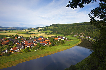 View over the Weser river onto Doelme, Bevern, Weser Hills, North Lower Saxony, Germany, Europe