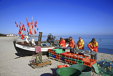 Fishermen with their catch and fishing boat on the beach of seaside resort Binz, Island of Ruegen, Mecklenburg Western Pomerania, Germany, Europe