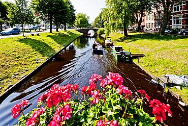 Swater canal in Friedrichstadt, Northern Frisia, Schleswig Holstein, Germany