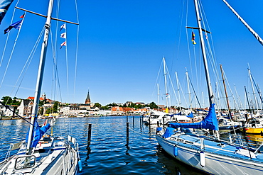harbour and view to the old city of Flensburg, Flensburg Fjord, Baltic Sea, Schleswig-Holstein, Germany