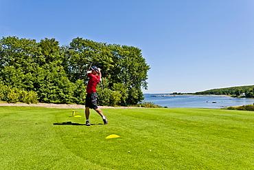 Foerde-Golf-Club Gluecksburg, Bockholmer Hochplateau, Gluecksburg, Flensburg Fjord, Schleswig Holstein, Germany