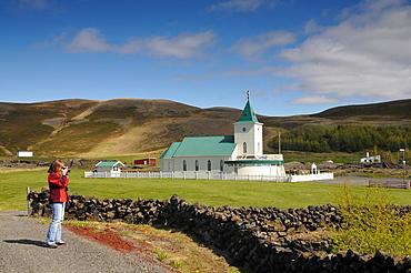 Church, Reykjahlio, lake Myvatn, Skutustadir, Nordurland eystra, Iceland
